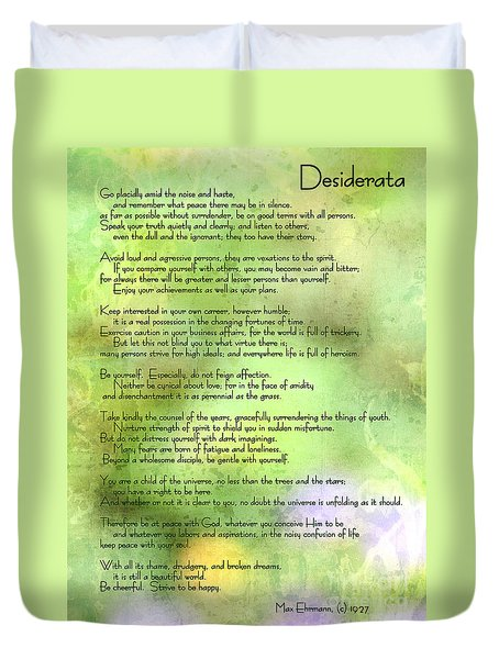 Desiderata - Inspirational Poem Duvet Cover