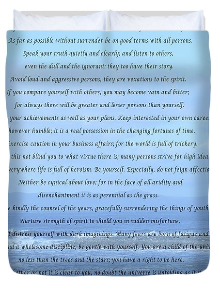 Desiderata On Beach And Ocean Scene Duvet Cover by Barbara Griffin