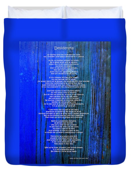 Desiderata On Blue Duvet Cover