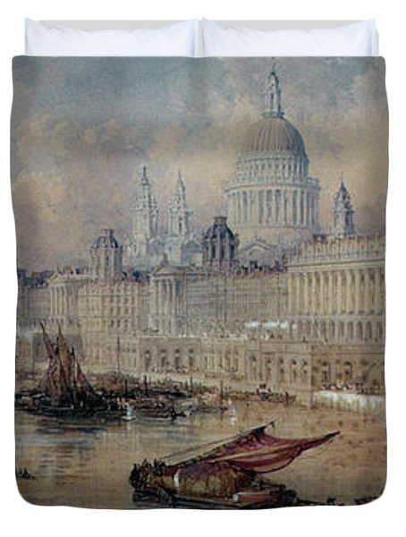 Design For The Thames Embankment Duvet Cover by Thomas Allom