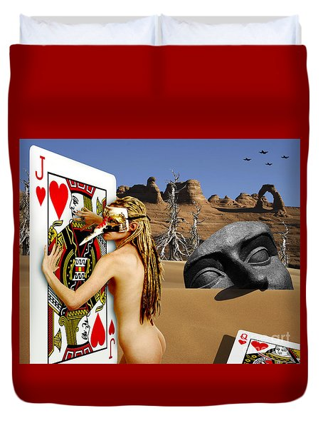 Desire And The Jack Of Hearts Duvet Cover by Keith Dillon
