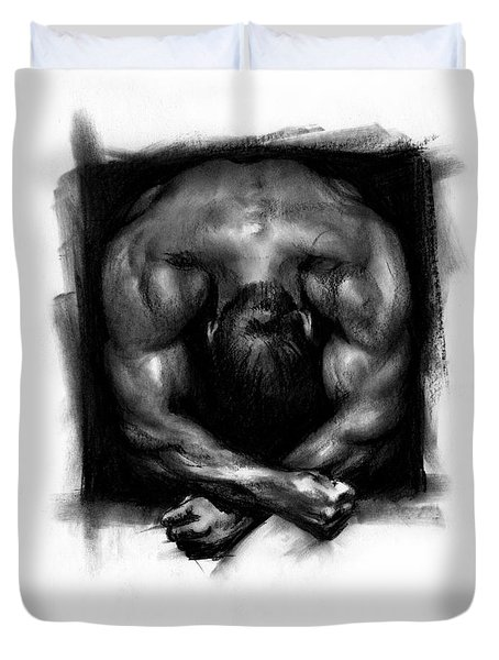 Duvet Cover featuring the drawing Despondent by Paul Davenport