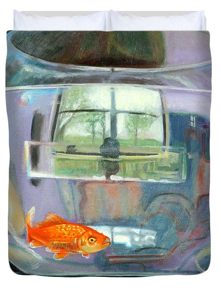 detail fish bowl of Fishing Duvet Cover