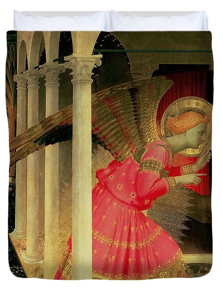 Detail From The Annunciation Showing The Angel Gabriel Duvet Cover by Fra Angelico