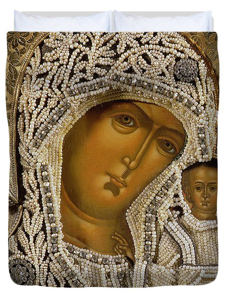 Detail Of An Icon Showing The Virgin Of Kazan By Yegor Petrov Duvet Cover
