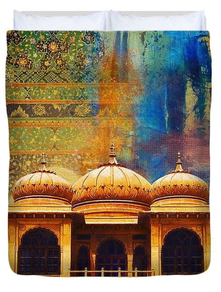 Detail Of Mohatta Palace Duvet Cover by Catf