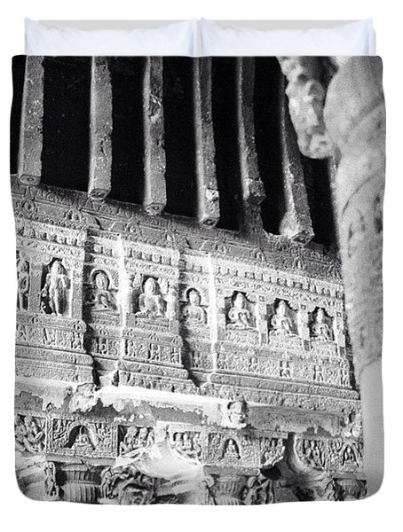 Details Of Carvings In Ajanta Caves Duvet Cover