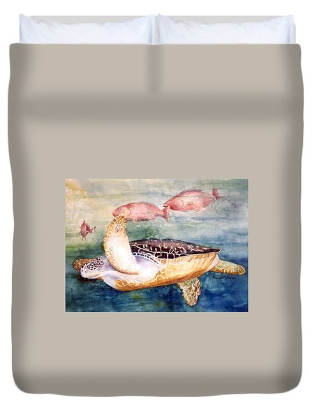 Determined - Loggerhead Sea Turtle Duvet Cover