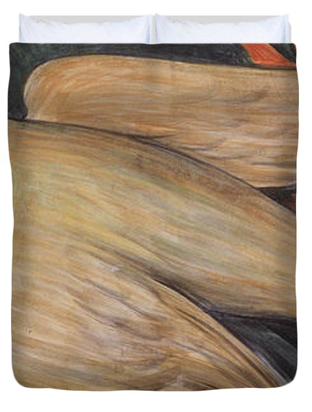 Detroit Industry    Detail From The West Wall Duvet Cover by Diego Rivera