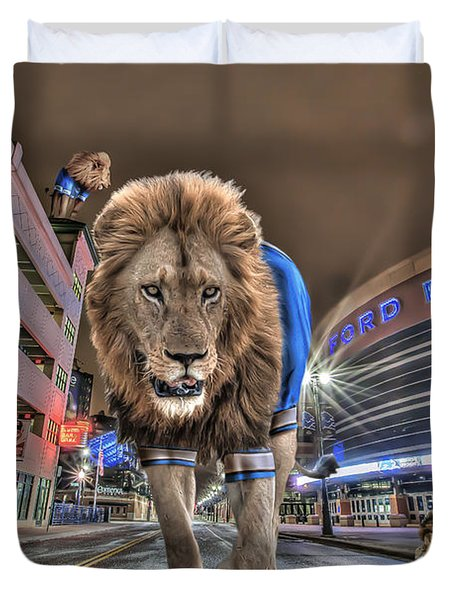 Detroit Lions At Ford Field Duvet Cover