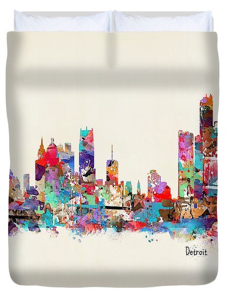 Detroit Michigan Skyline Square Duvet Cover