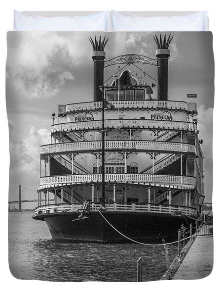 Detroit River Princess Black And White  Duvet Cover