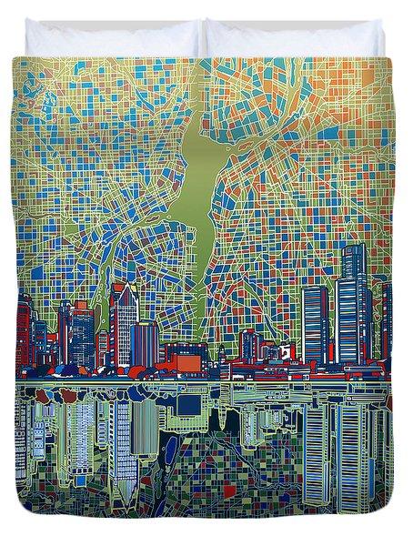 Detroit Skyline Abstract 3 Duvet Cover