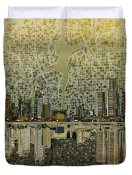 Detroit Skyline Abstract 4 Duvet Cover