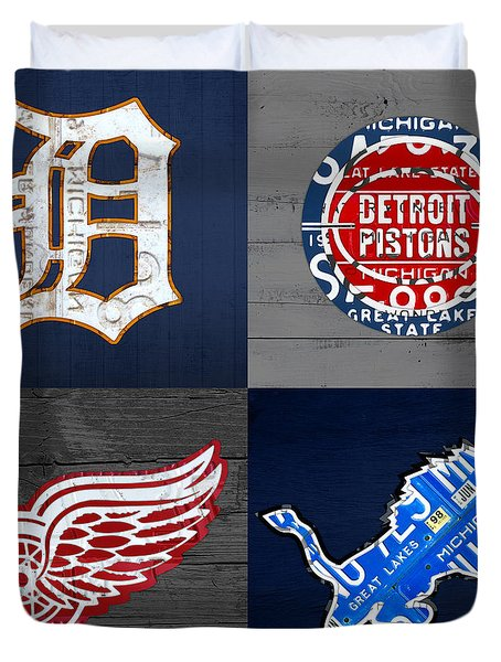 Detroit Sports Fan Recycled Vintage Michigan License Plate Art Tigers Pistons Red Wings Lions Duvet Cover by Design Turnpike