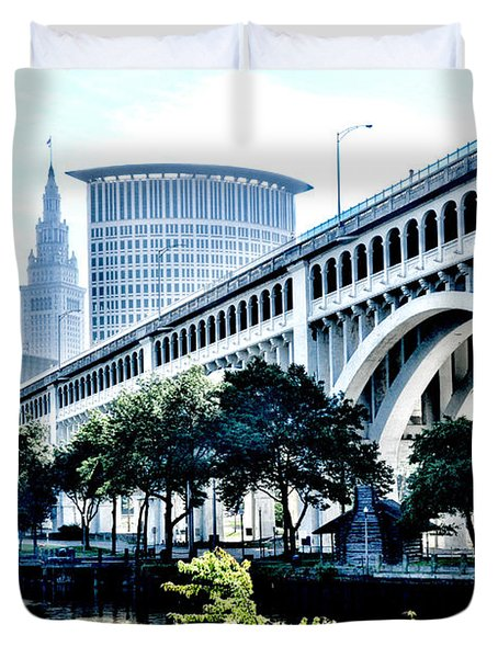 Duvet Cover featuring the photograph Detroit-superior Bridge - Cleveland Ohio - 1 by Mark Madere
