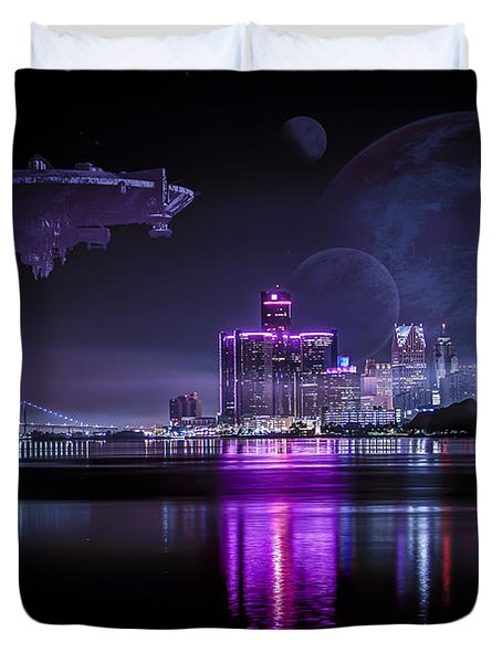 Duvet Cover featuring the photograph Detroit Worlds by Nicholas  Grunas