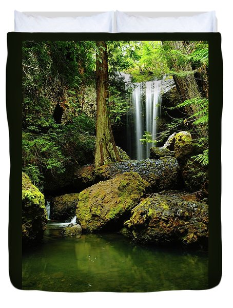 Devil Creek Falls  Duvet Cover by Jeff Swan