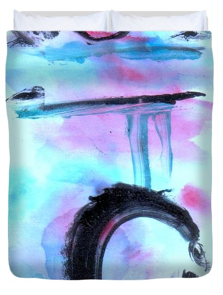 Duvet Cover featuring the painting Devil Dance by Lesley Fletcher