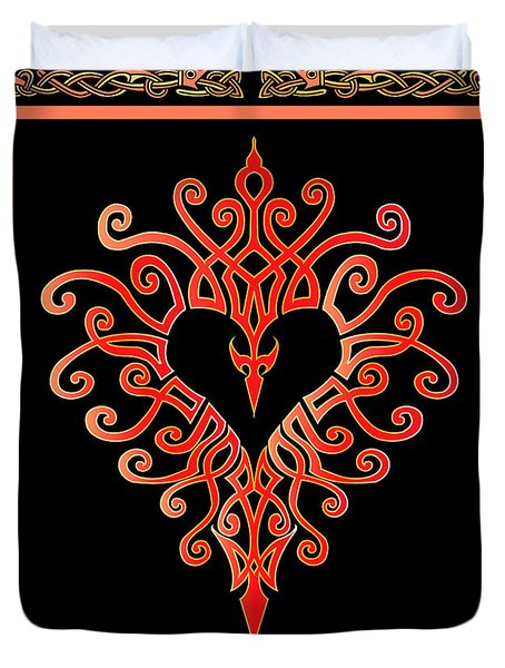 Duvet Cover featuring the digital art Devil's Heart by Vagabond Folk Art - Virginia Vivier