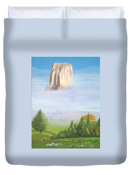 Duvet Cover featuring the painting Devil's Tower  by Phyllis Kaltenbach