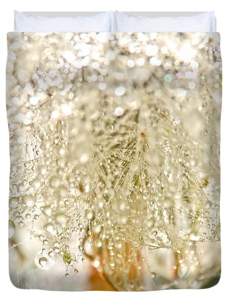 Dew Drops On Dandelion Duvet Cover by Peggy Collins