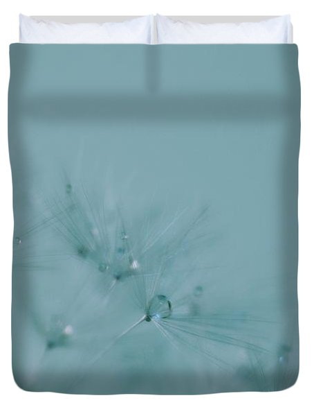 Dew Drops On Dandelion Seeds Duvet Cover