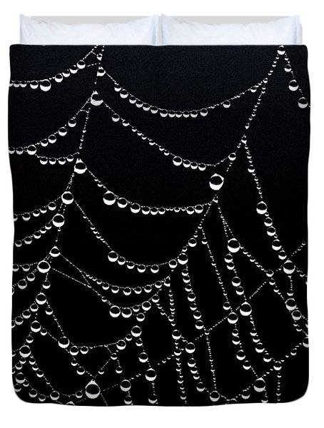 Dew Drops On Web 2 Duvet Cover by Marty Saccone