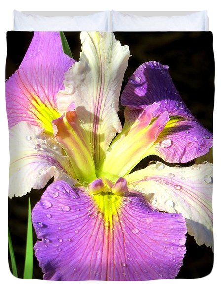 Duvet Cover featuring the photograph Dew On An Iris by Phyllis Beiser