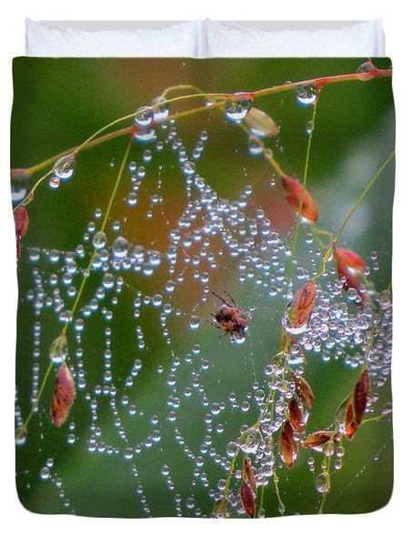 Duvet Cover featuring the photograph Dewdrop Inn by Dianne Cowen