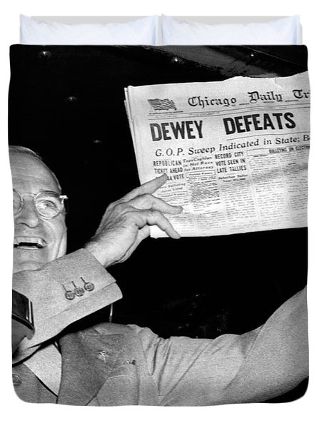 Dewey Defeats Truman Newspaper Duvet Cover