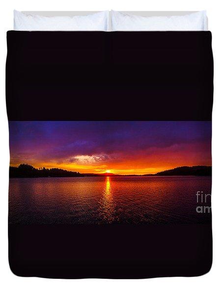 Dexter Lake Oregon Sunset 2 Duvet Cover