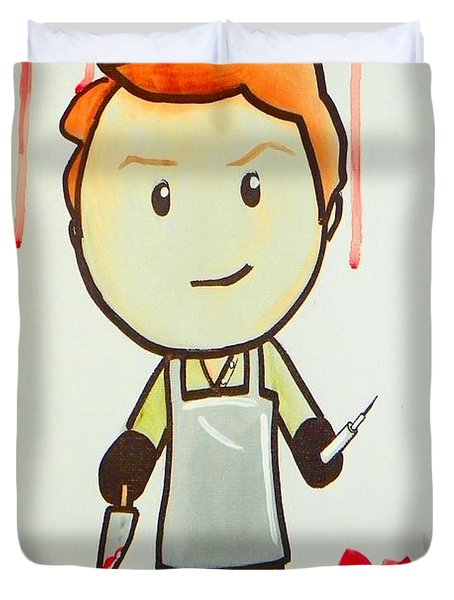 Duvet Cover featuring the painting Dexter by Marisela Mungia