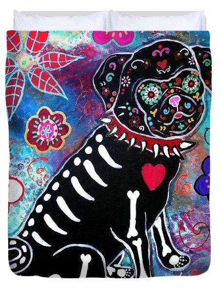 Dia De Los Muertos Pug Duvet Cover
