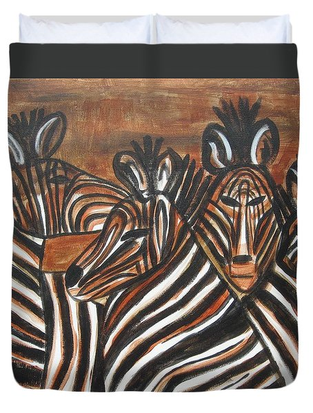 Zebra Bar Crowd Duvet Cover