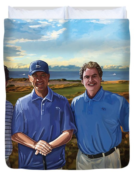 Duvet Cover featuring the painting Diamante Golf by Tim Gilliland