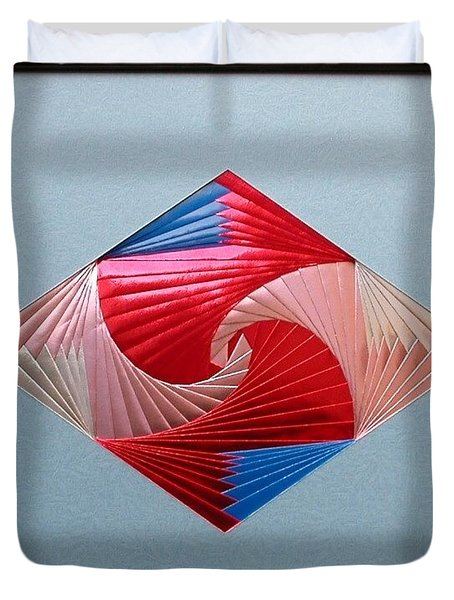 Duvet Cover featuring the mixed media Diamond Design by Ron Davidson