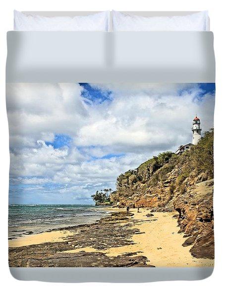 Diamond Head Lighthouse Duvet Cover by DJ Florek