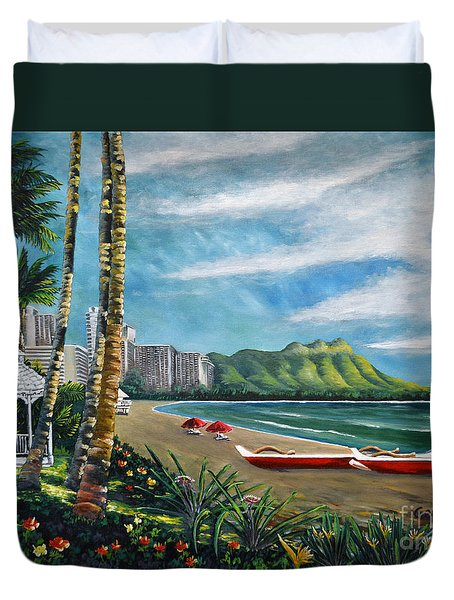 Diamond Head Waikiki Duvet Cover