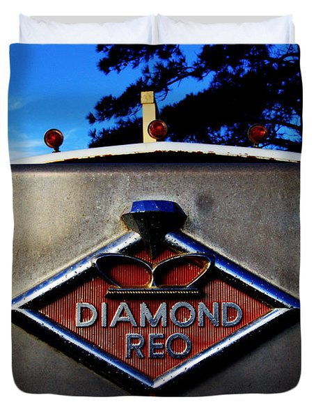 Duvet Cover featuring the photograph Diamond Reo Hood Ornament by Bartz Johnson
