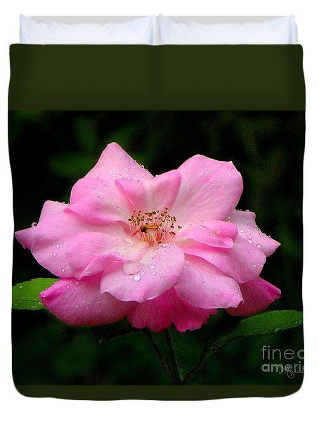 Duvet Cover featuring the photograph Diamond-studded Rose by Mariarosa Rockefeller