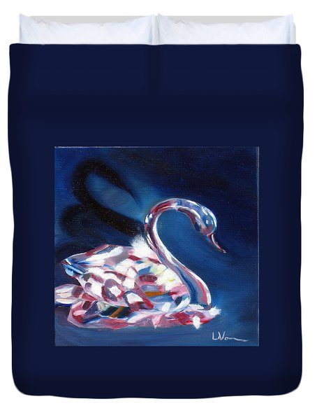 Duvet Cover featuring the painting Diamond Swarovski Swan by LaVonne Hand