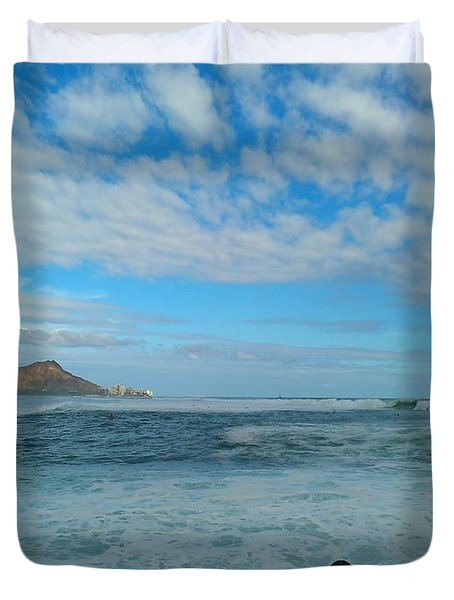 Diamondhead And A Yellow Fence Duvet Cover