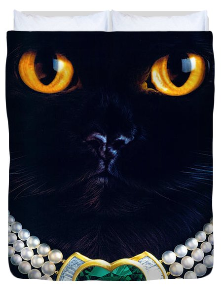 Diamonds Are A Cats Best Friend Duvet Cover by Andrew Farley