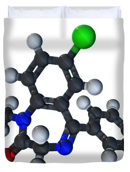 Diazepam Molecular Model Duvet Cover by Evan Oto