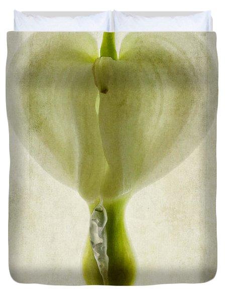 Dicentra Spectabilis Alba Duvet Cover by John Edwards