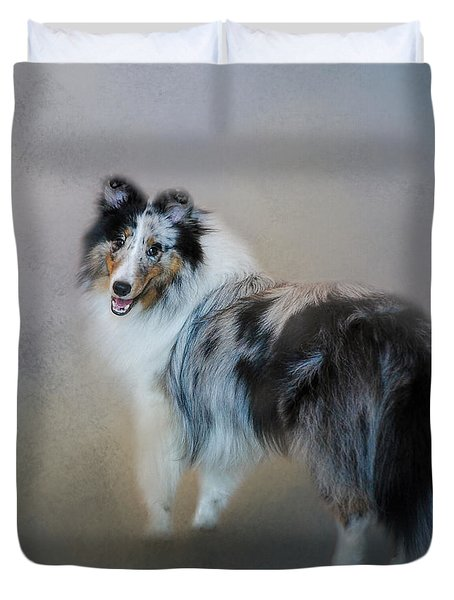 Did You Call Me - Blue Merle Shetland Sheepdog Duvet Cover
