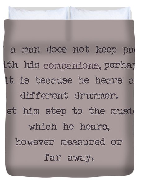 Different Drummer Duvet Cover by Georgia Fowler
