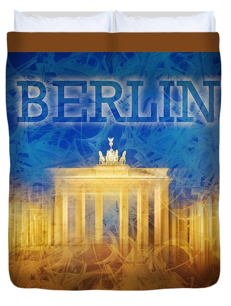 Digital-art Brandenburg Gate II Duvet Cover by Melanie Viola