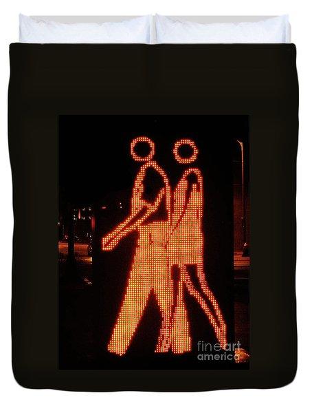 Digital Couple At City Garden Duvet Cover